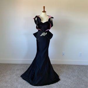 John Paul Ataker Black and Lavender Gown